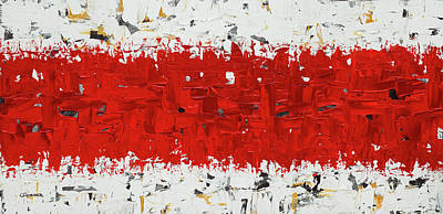 Poster featuring the painting Hashtag Red - Abstract Art by Carmen Guedez