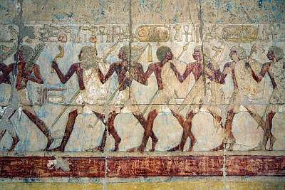 Hatshepsut Temple Parade Of Soldiers Poster by Aivar Mikko
