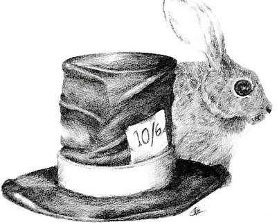 Poster featuring the drawing Hatter And The Hare by Meagan  Visser