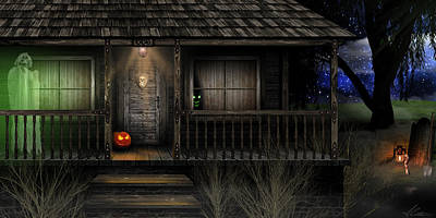 Poster featuring the digital art Haunted Halloween 2016 by Anthony Citro