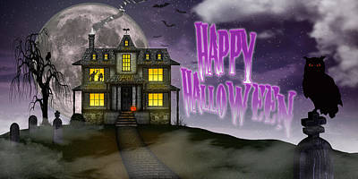 Poster featuring the digital art Haunted Halloween by Anthony Citro