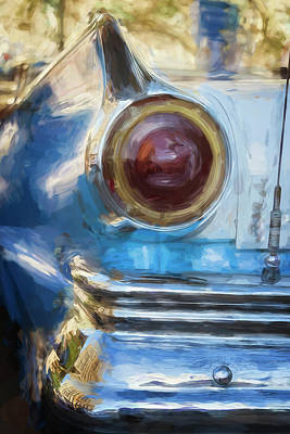 Poster featuring the photograph Havana Cuba Vintage Car Tail Light Painterly by Joan Carroll