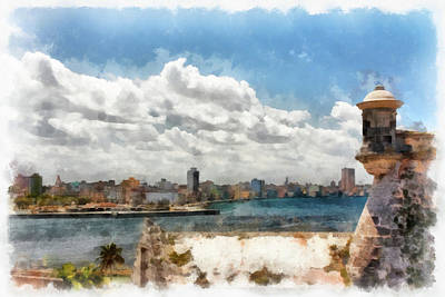 Havana From El Morro Poster by Dawn Currie