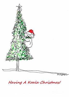 Having A Koala Christmas Poster by Denise Fulmer