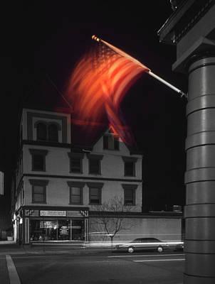 Waving Flag In Easton Poster by Mike McGlothlen