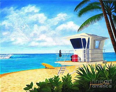 Hawaii North Shore Banzai Pipeline Poster by Jerome Stumphauzer