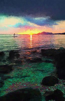 Hawaii Paddler Poster by Vicki France
