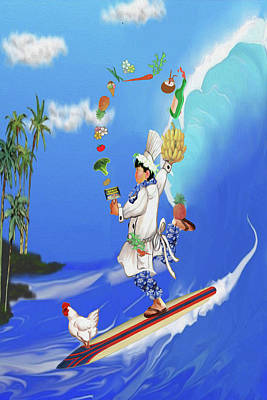 Hawaiian Chef And Chicken On A Surfboard Juggling Food Poster