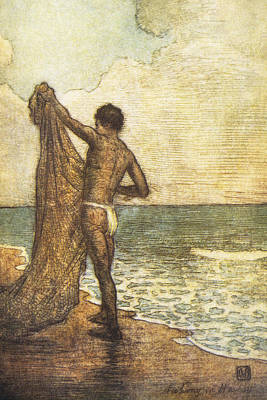 Hawaiian Fisherman Painting Poster by Hawaiian Legacy Archive - Printscapes