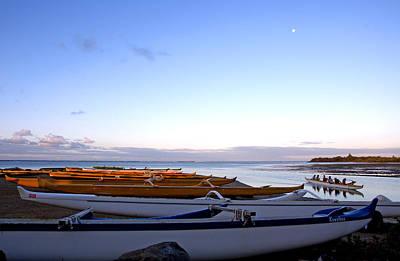 Hawaiian Outrigger Canoes Poster