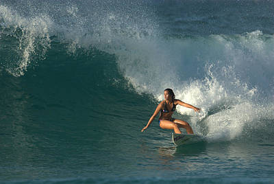 Hawaiian Surfer Girl Bottom Turn Poster