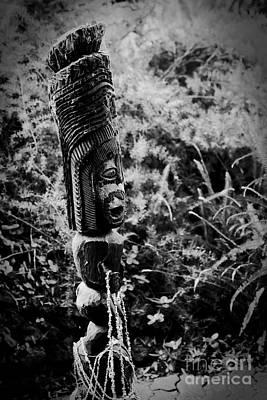 Hawaiian Tiki Carving Draped With Seashell Lei Poster by Sharon Mau