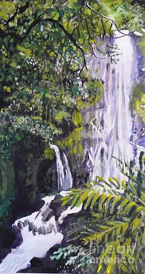 Poster featuring the painting Hawaiian Waterfall by Terri Thompson