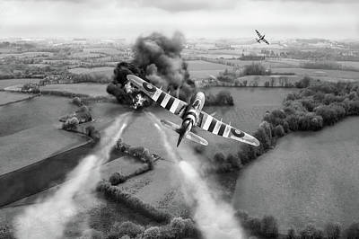 Poster featuring the photograph Hawker Typhoon Rocket Attack Bw Version by Gary Eason