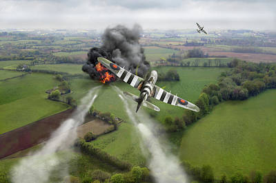 Poster featuring the photograph Hawker Typhoon Rocket Attack by Gary Eason