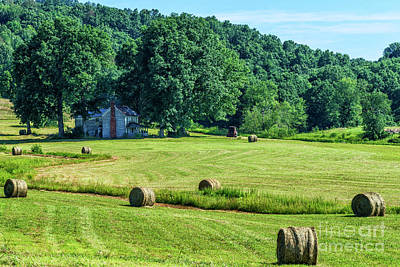 Hay Bales And Farm House Poster by Thomas R Fletcher