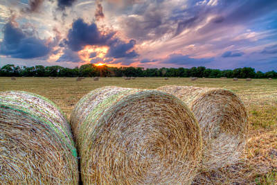 Hay Bales At Sunset Poster by Tim Stanley