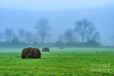 Hay Bales In Fog Poster by Thomas R Fletcher