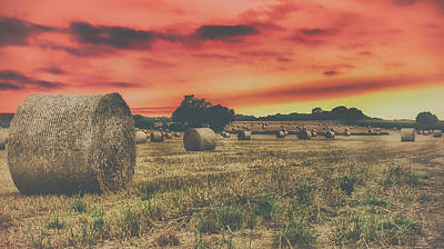 Hay Bales Sunset Poster