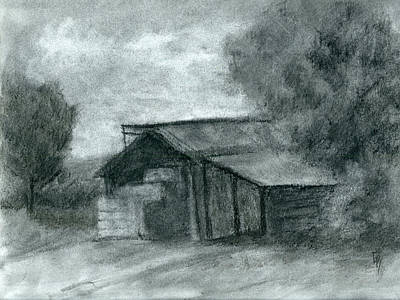 Hay Shed Sketch Poster