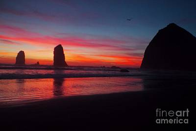 Haystack Rock At Sunset 2 Poster