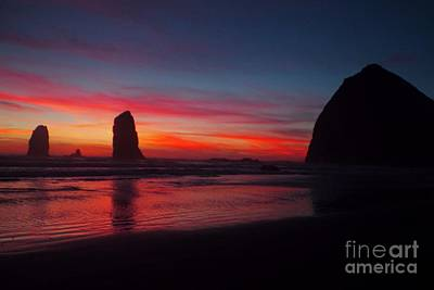 Haystack Rock At Sunset Poster
