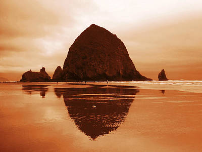 Red Sunset At Haystack Rock Oregon Poster