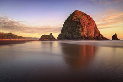 Poster featuring the photograph Haystack Rock Sunset by Adam Romanowicz