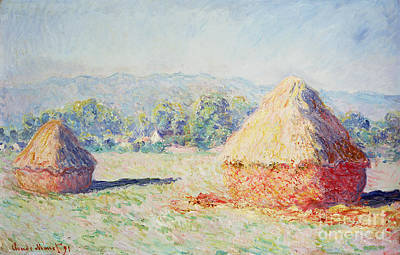 Haystacks In The Sun Poster by Claude Monet