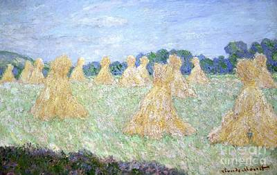 Haystacks The Young Ladies Of Giverny Sun Effect Poster by Claude Monet