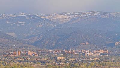 Hazy Low Cloud Morning Boulder Colorado University Scenic View  Poster