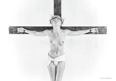 Highlight Crucifix Black And White Poster by Ramon Martinez