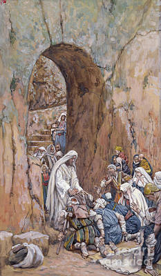 He Did No Miracles Save That He Healed Them Poster by Tissot