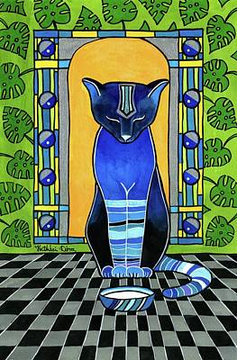 Poster featuring the painting He Is Back - Blue Cat Art by Dora Hathazi Mendes