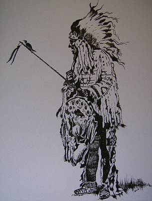 Poster featuring the drawing Head Dress by Leslie Manley