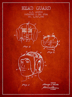 Head Guard Patent From 1924 - Red Poster by Aged Pixel