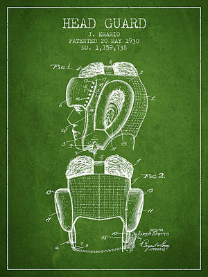Head Guard Patent From 1930 - Green Poster