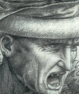 Head Of A Warrior, Copy Of A Detail From The Battle Of Anghiari Poster