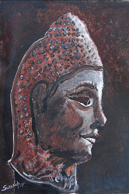 Poster featuring the painting Head Of Buddha by Anand Swaroop Manchiraju