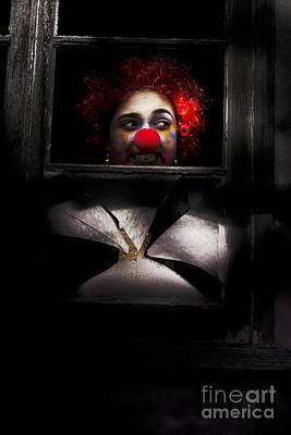 Head Of Clown In Dark Window Poster