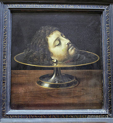 Poster featuring the photograph Head Of John The Baptist, 1507, With Frame And Inscription -- By by Patricia Hofmeester