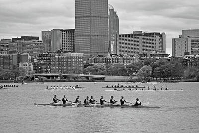 Head Of The Charles. Charles Rowers Black And White Poster