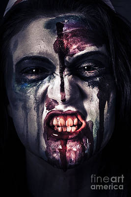 Head Shot On A Pure Evil Zombie Girl Poster by Jorgo Photography - Wall Art Gallery