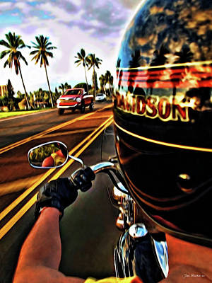 Heading Out On Harley Poster by Joan  Minchak