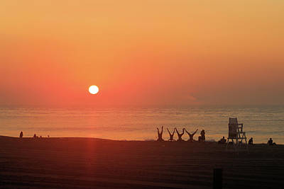 Poster featuring the photograph Headstand Fun At Sunrise by Robert Banach
