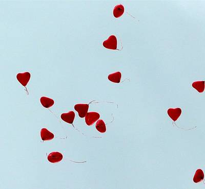 Heart Balloons In The Sky Poster