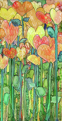 Poster featuring the mixed media Heart Bloomies 2 - Golden by Carol Cavalaris