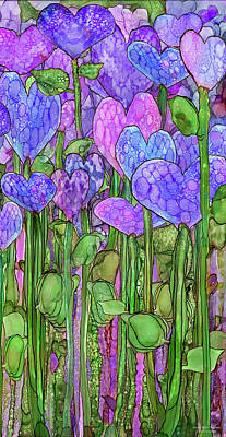 Poster featuring the mixed media Heart Bloomies 2 - Purple by Carol Cavalaris
