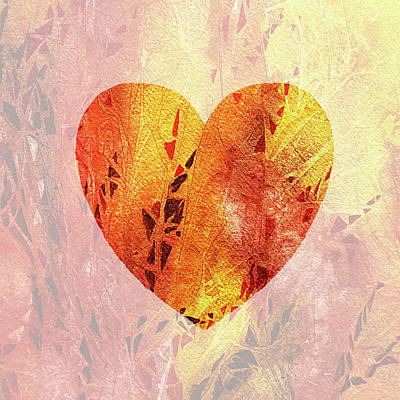 Heart On Fire Watercolor Silhouette Poster by Irina Sztukowski