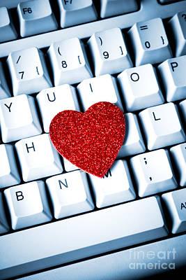 Heart On Keyboard Poster